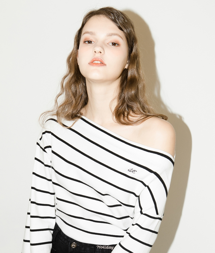 SEEKEmbroidered Detail Striped Off-Shoulder Top