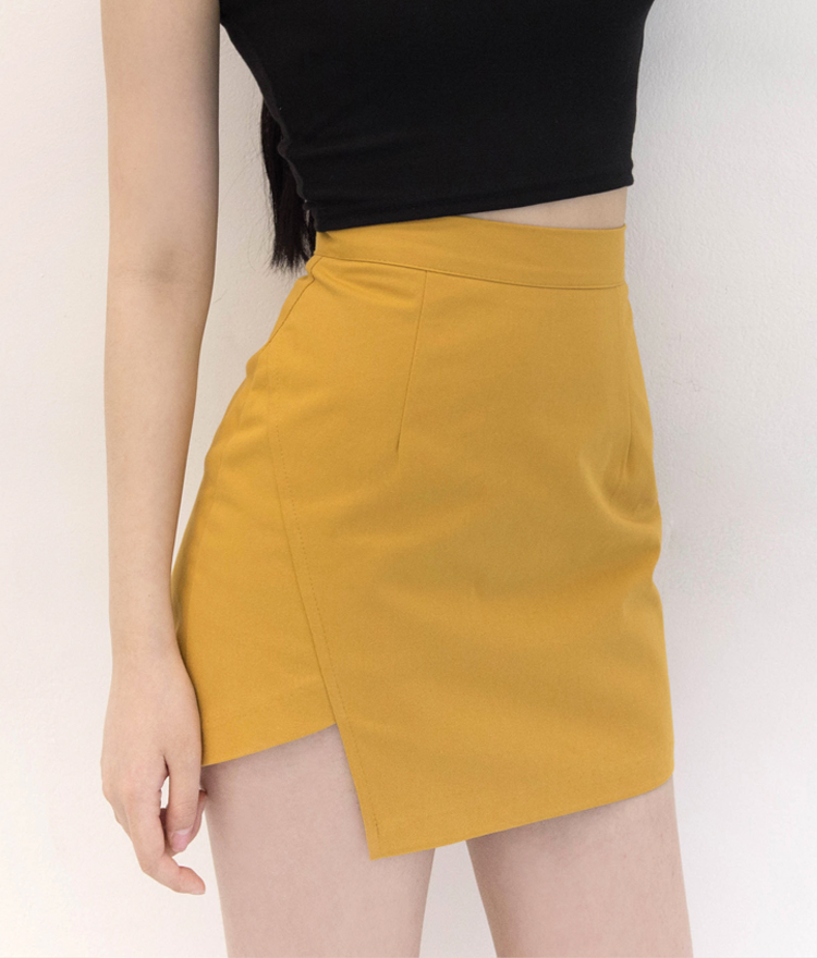 Asymmetrical Hem Mini Skirt