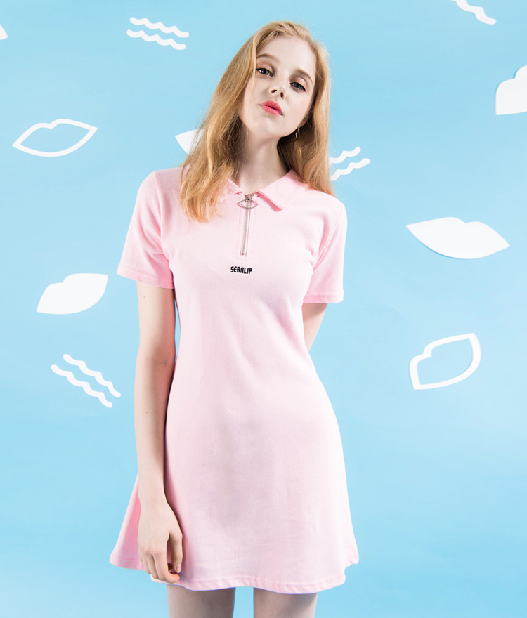 Embroidered Lettering Zip-Up Dress
