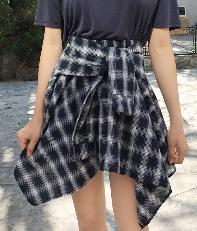 Check Asymmetrical Ribbon Skirt