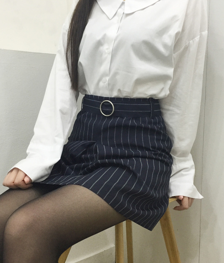 PAST PASSIONStriped Pleat Front Mini Skirt With Belt