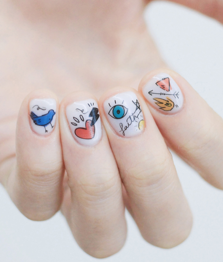 Mixed Doodle Design Nail Art Water Decal