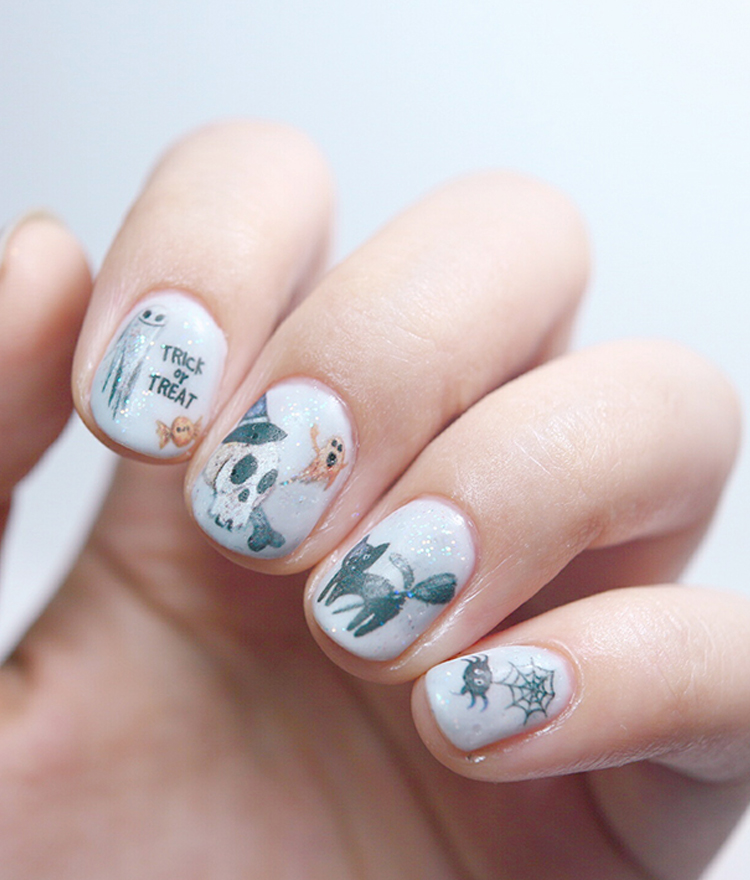 Watercolor Halloween Themed Nail Art Water Decal