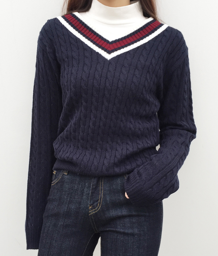 Contrast V-Neck Twist Knit Pattern Sweater