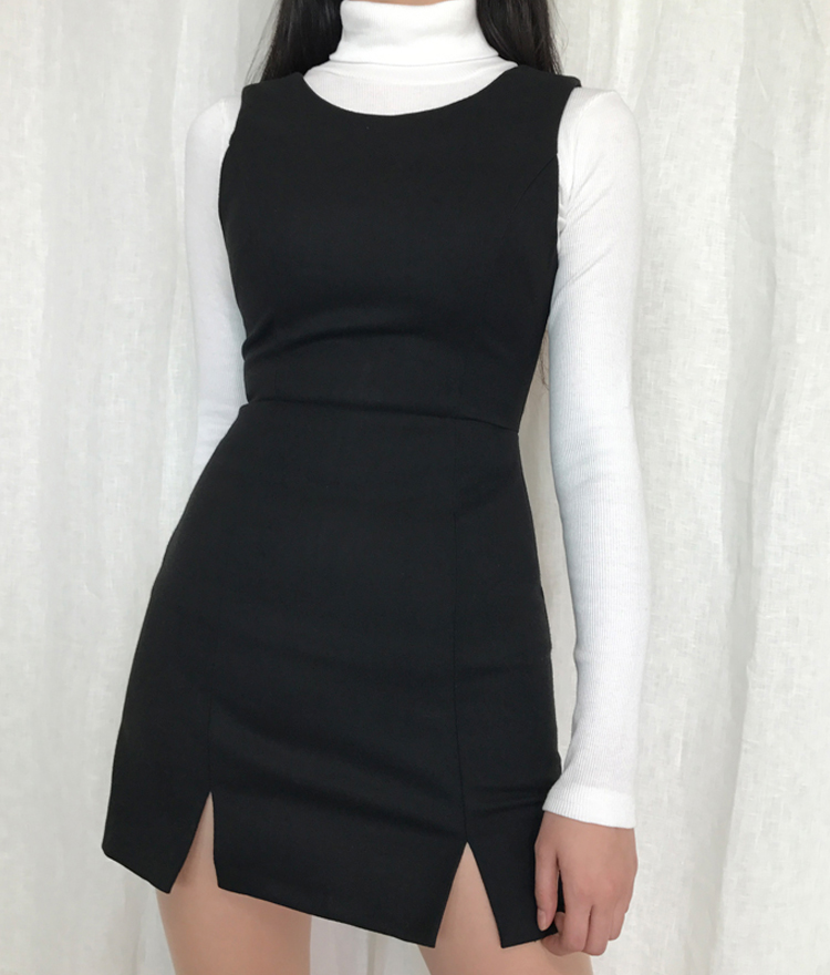 Sleeveless Front Slit Mini Dress