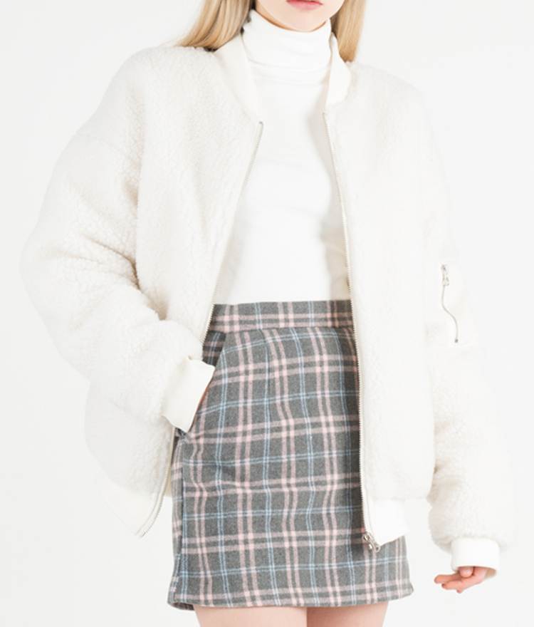 Faux Fur Zip-Up Quilt Lined Jacket