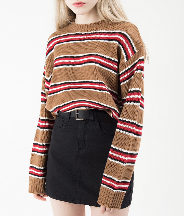 Striped Loose Round Neck Knit Sweater