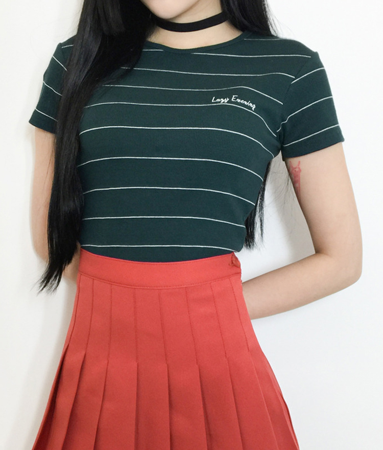 LAZY EVENING Striped Crop Top