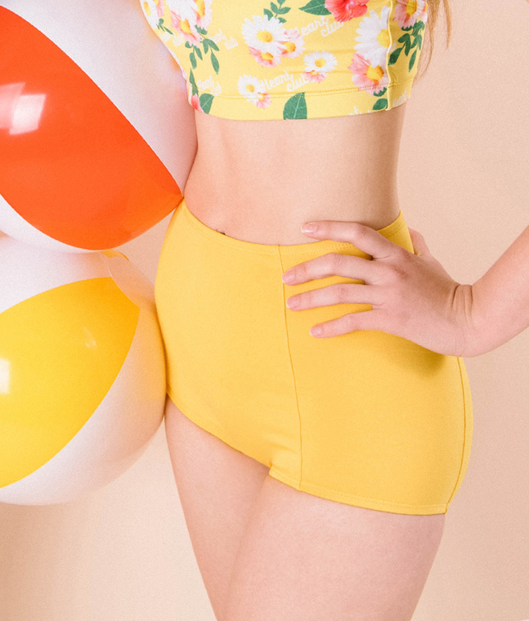 HEART CLUB Solid Tone High Waist Swim Bottoms