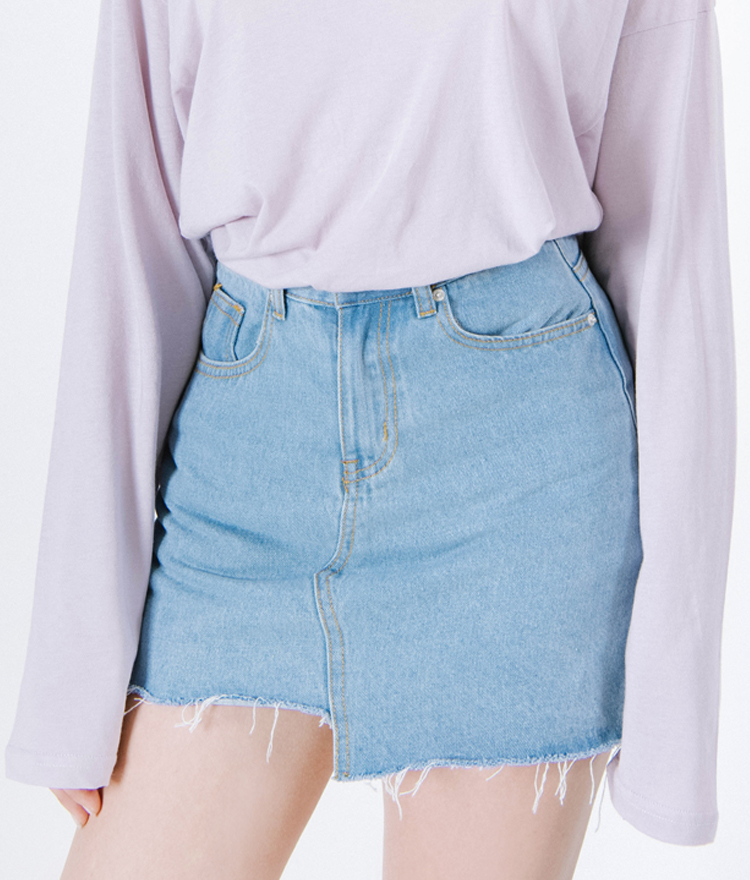Asymmetrical Raw Hem Denim Skort