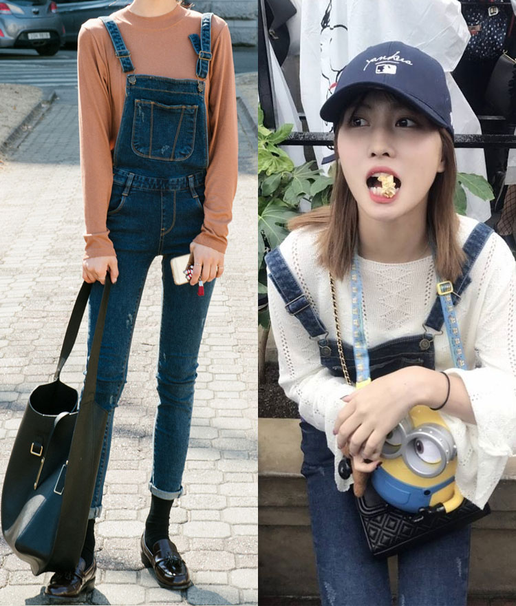 Distressed Denim Overall Pants