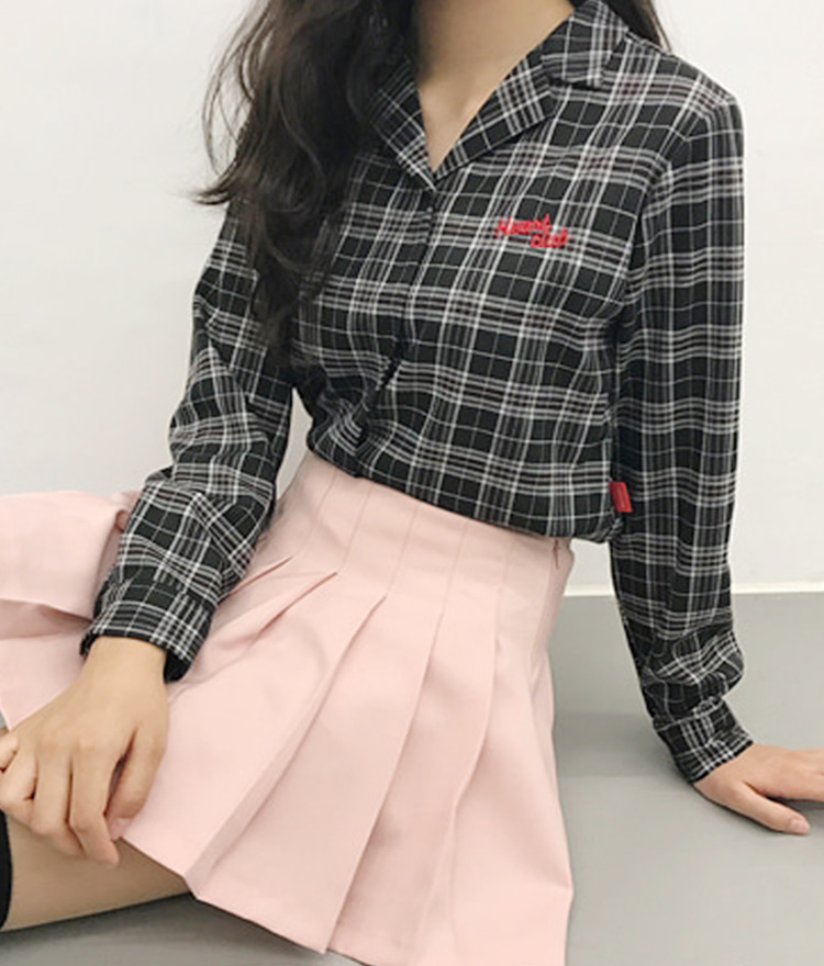 HEART CLUBSlit Cuff Check Shirt
