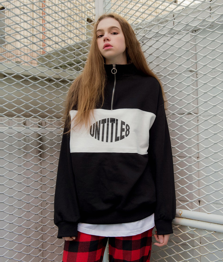 UNTITLE8Contrast Color Panel Zip Accent Sweatshirt