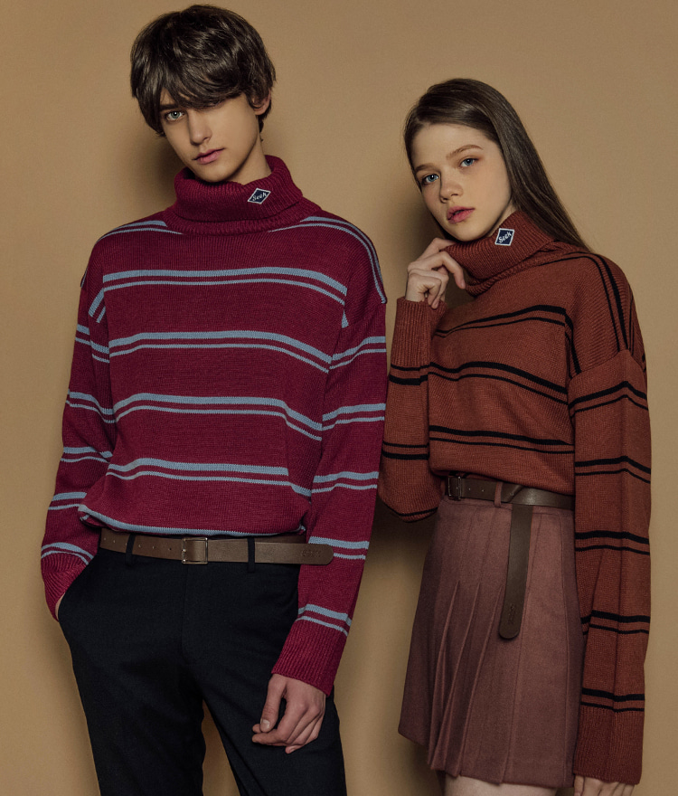 SEEKStriped Turtleneck Knit Top