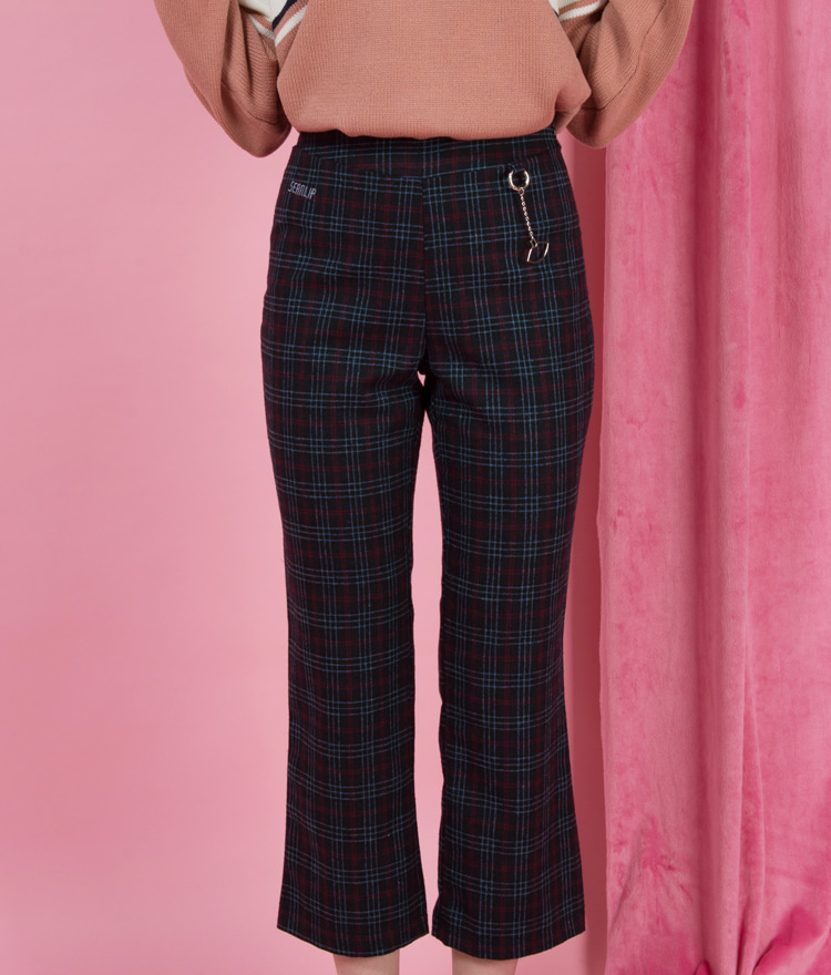 SEANLIPLettering Embroidered Check Pants