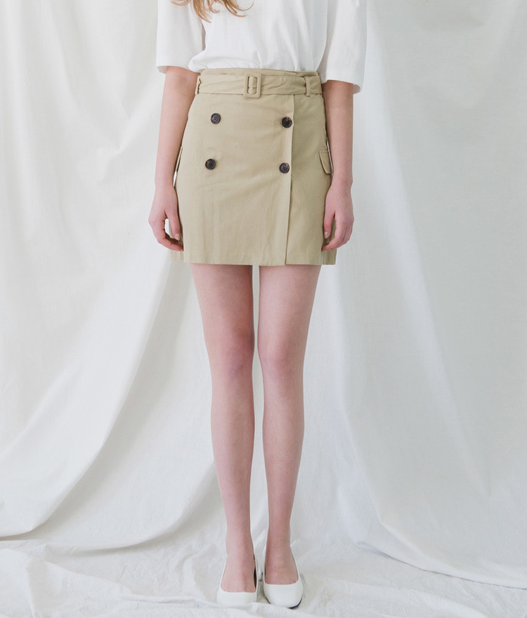 ROMANTIC MUSEBelted Double-Breasted Skirt