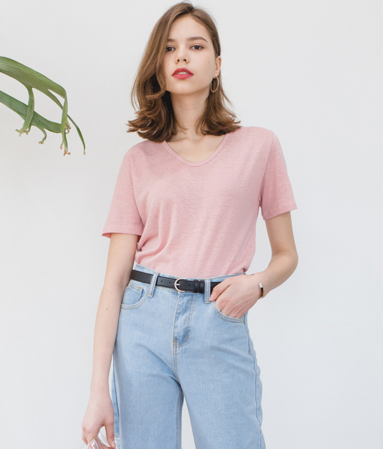 ESSAYU-Neck Short Sleeve Top