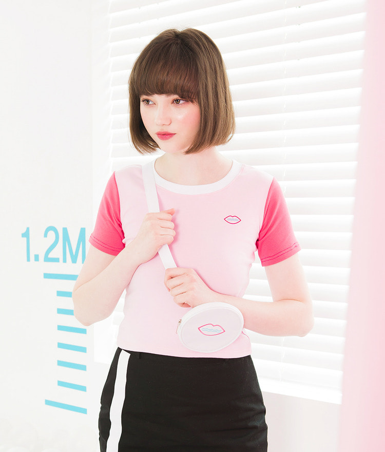 SEANLIPRound Neck Contrast Sleeve Top