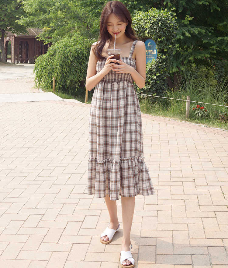 ROMANTIC MUSESmock Check Dress