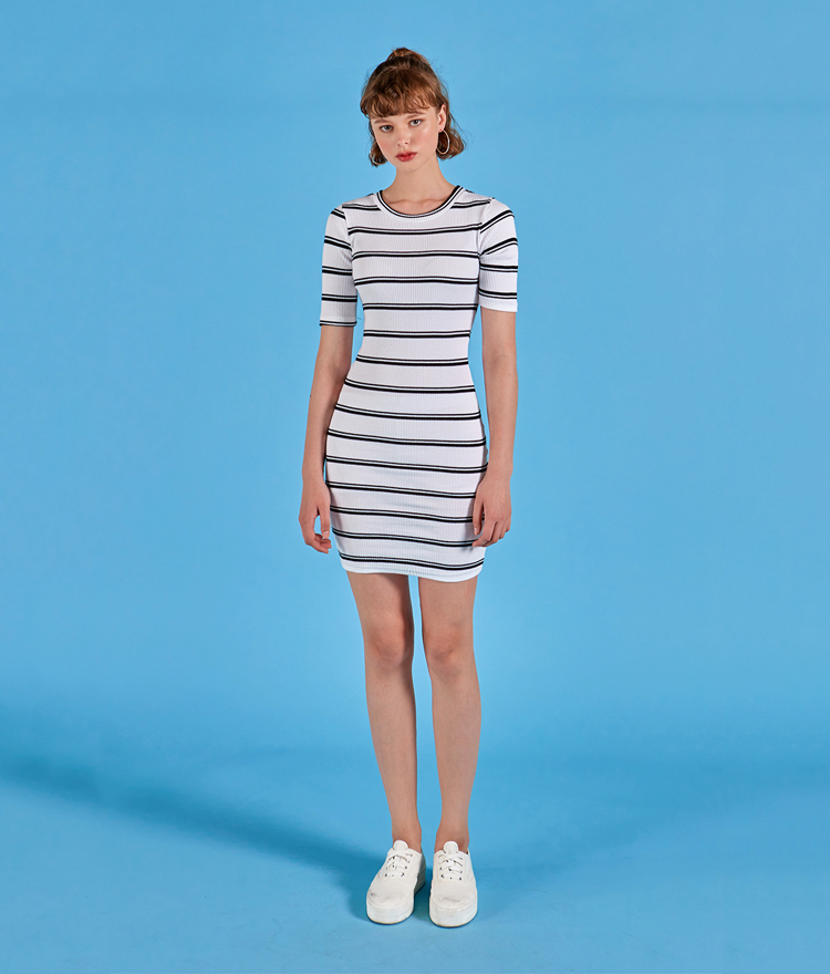 NEVERM!NDRibbed Stripe Dress