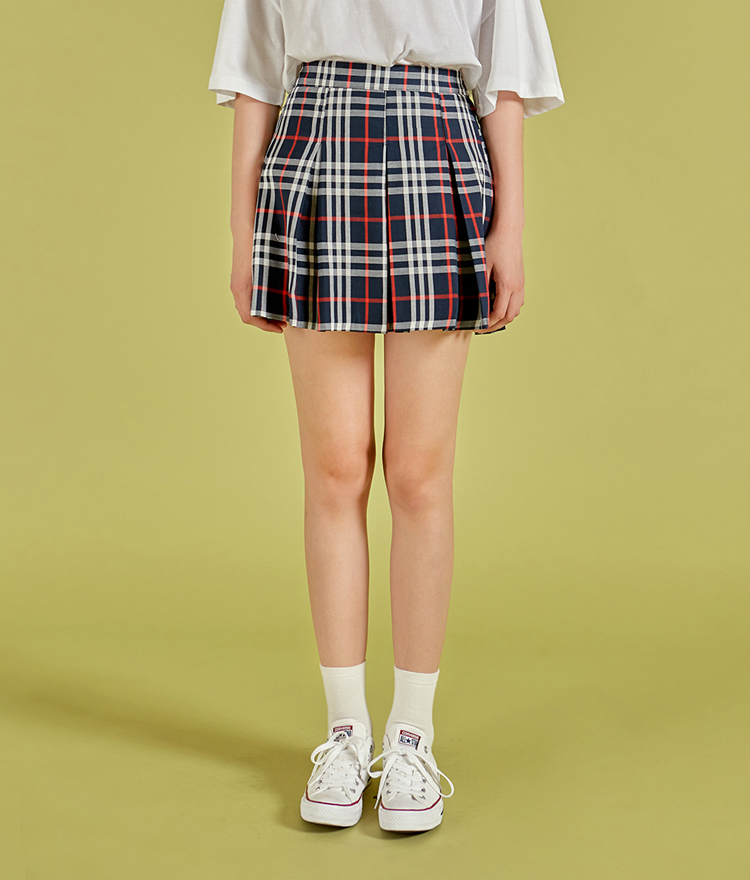 NEVERM!NDSemi Elastic Waistband Check Pleated Skirt