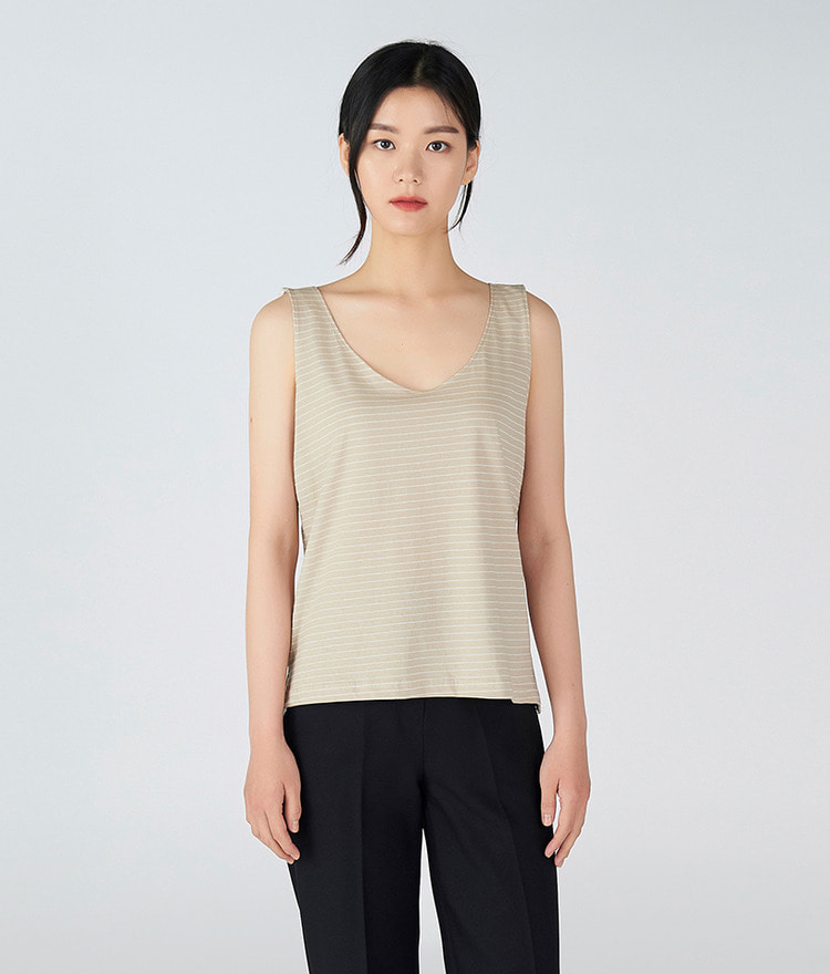 ESSAYRound Neck Stripe Sleeveless Top