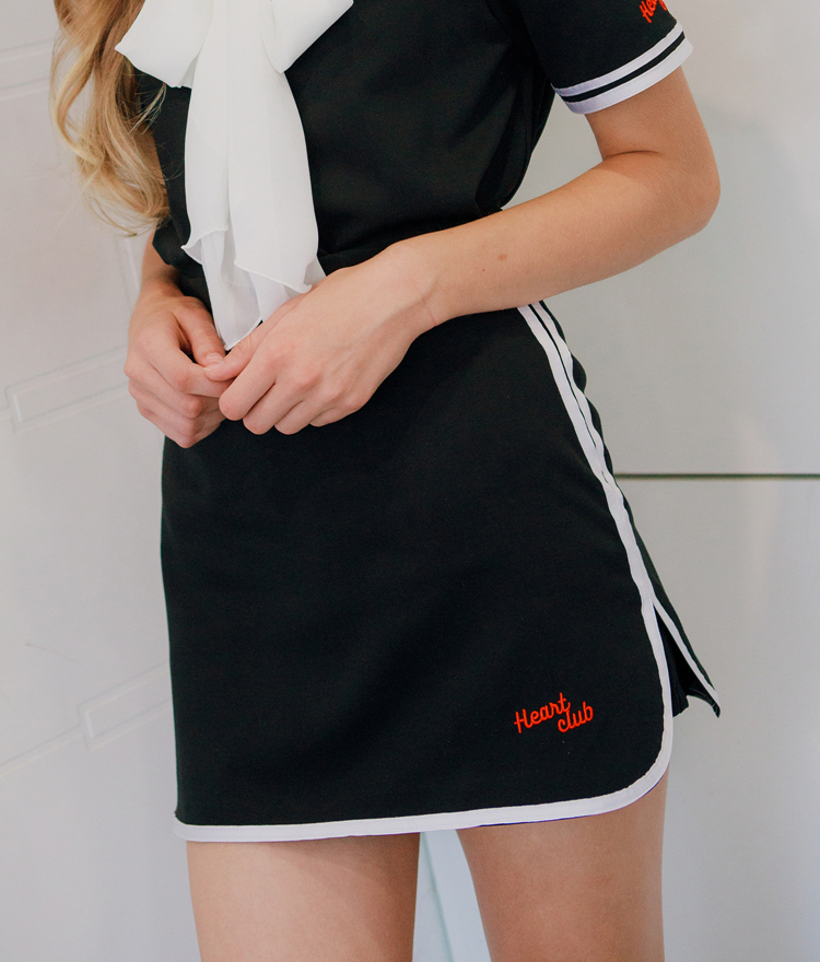 HEART CLUBEmbroidery Contrast Trim Skort
