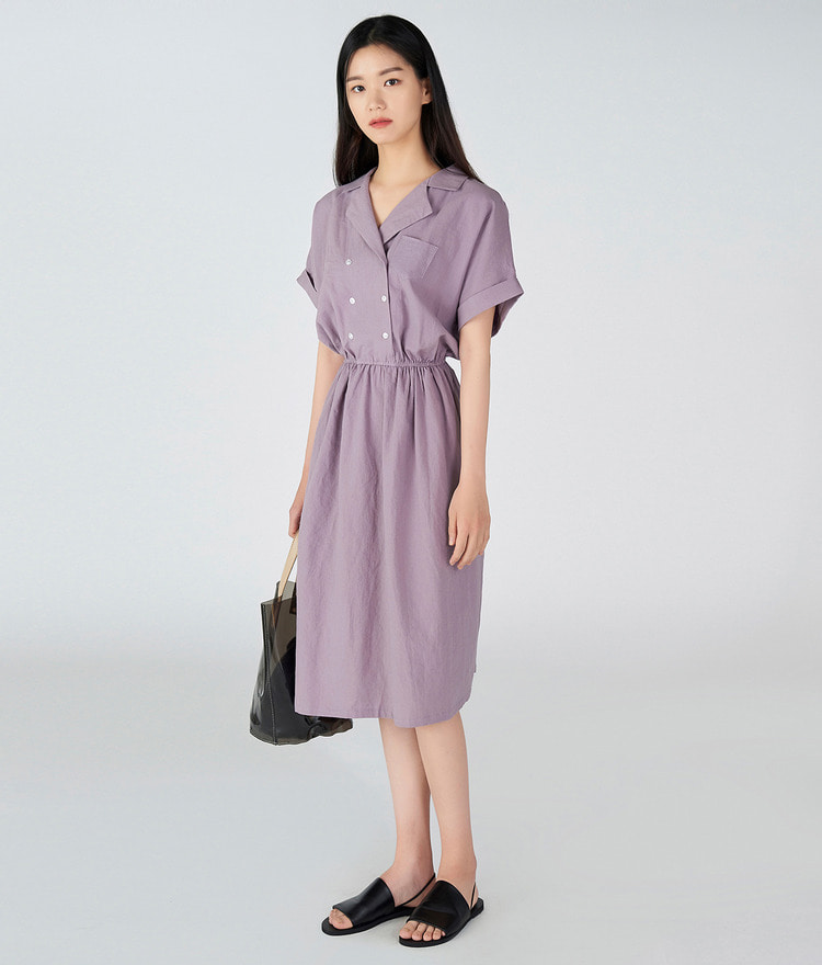 ESSAYDouble Breasted Notch Collar Dress