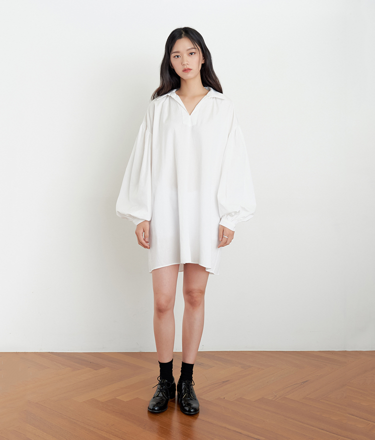 ESSAYBalloon Sleeve Mini Shirt Dress