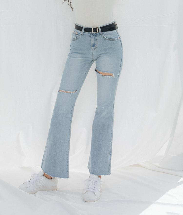 QUIETLABRipped Thigh Bootcut Jeans