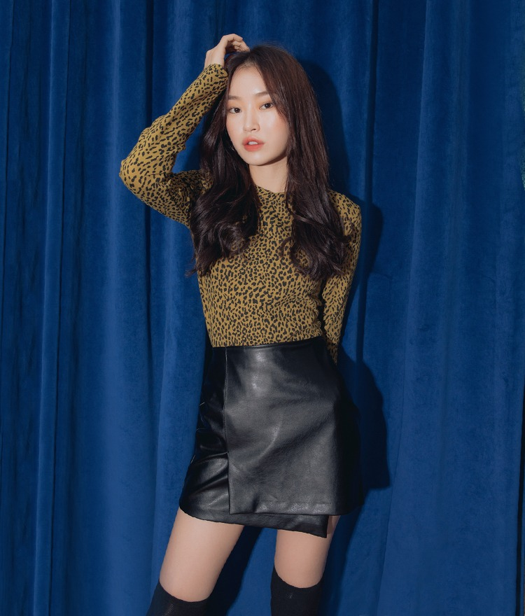 QUIETLABLong Sleeve Leopard Pattern Top