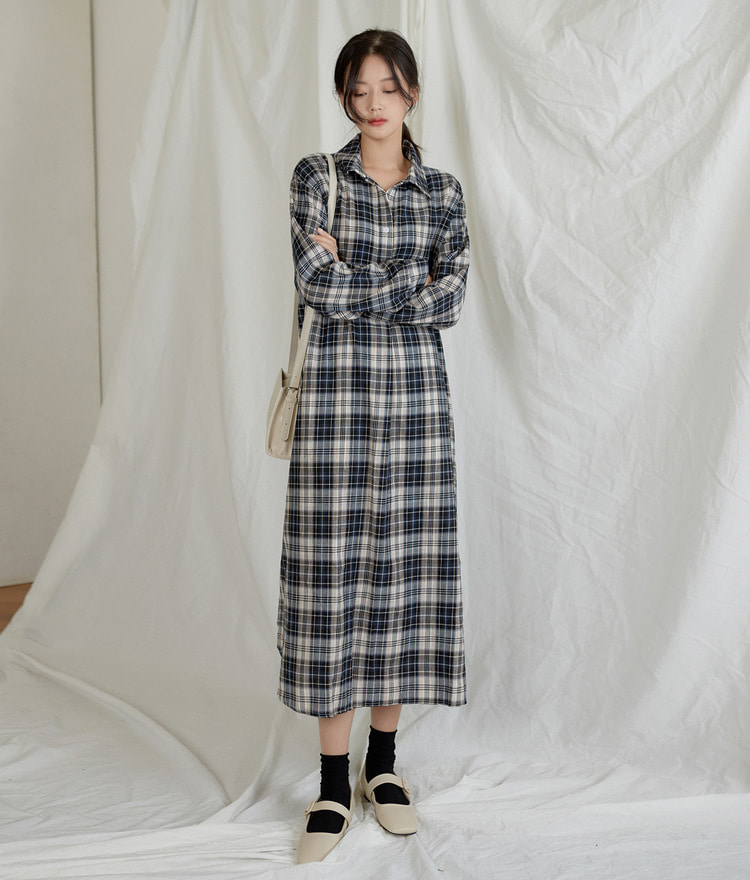 ESSAYCheck Long Shirt Dress