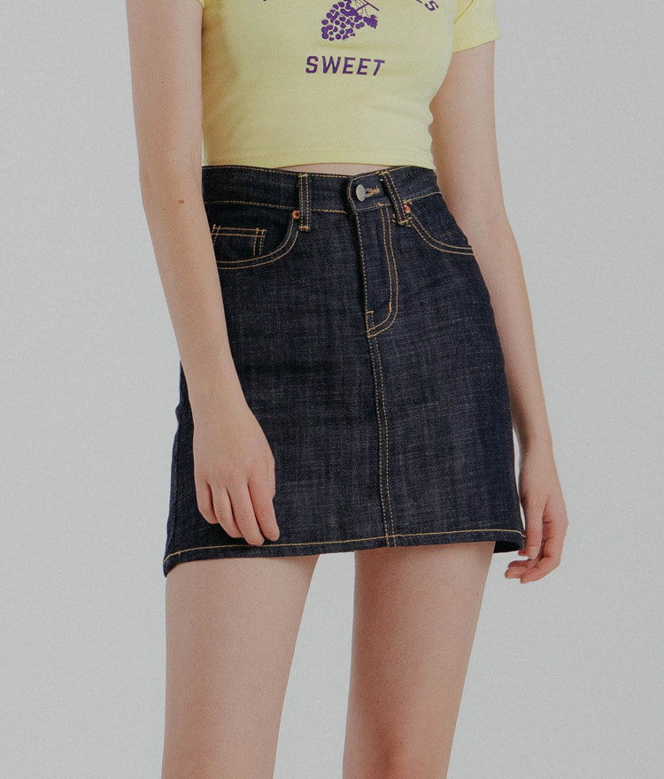 QUIETLABA-Line Contrast Stitch Denim Skirt