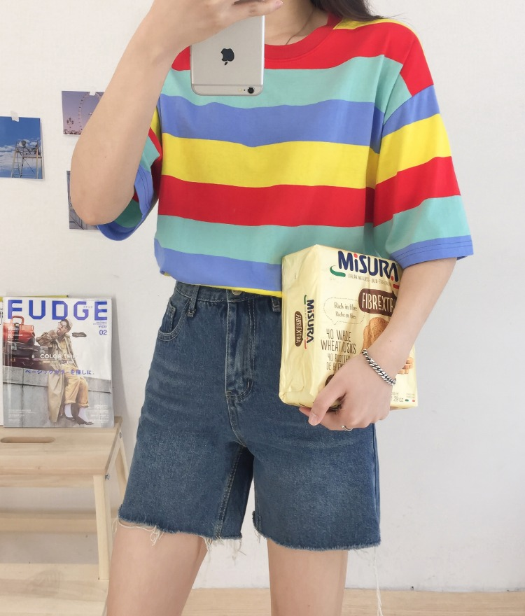 NEVERM!NDMulticolored Stripe Loose Fit T-Shirt