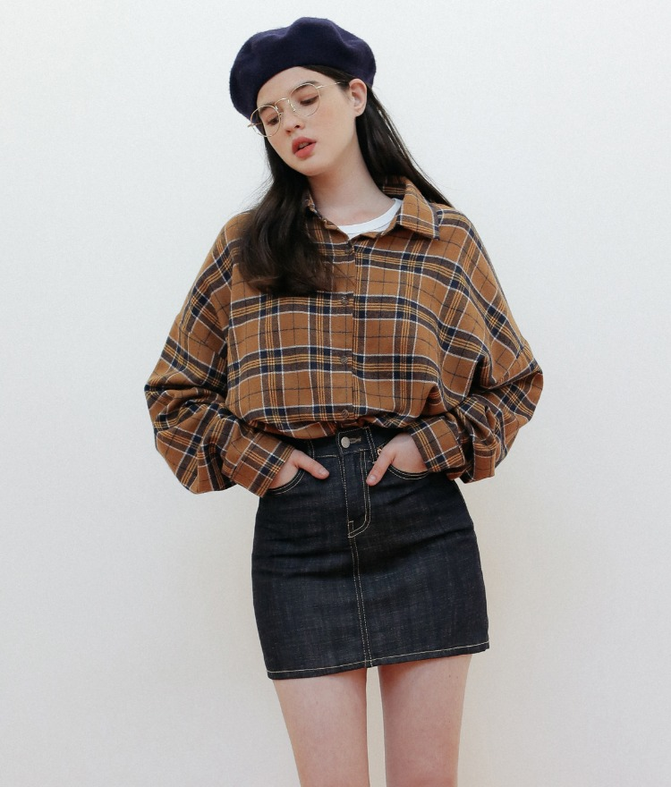 NEVERM!NDOversized Dipped Hem Check Shirt