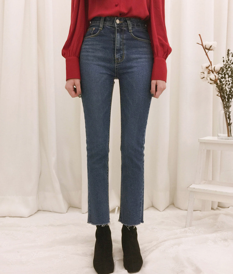ROMANTIC MUSEWhisker Wash Straight Leg Denim Pants