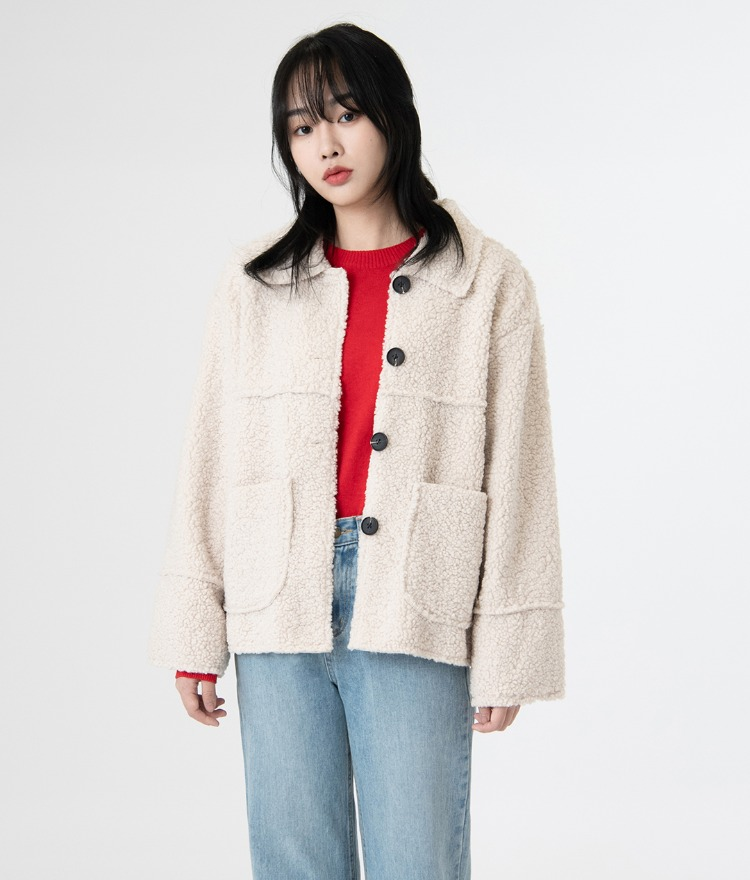 ESSAYSherpa Fleece Button-Up Jacket