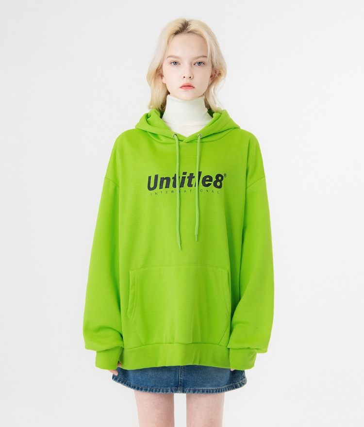 UNTITLE8Lime-Colored Logo Print Drawstring Hoodie