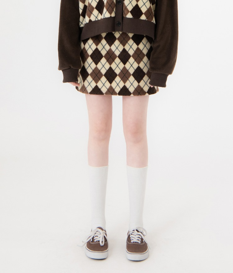 UNTITLE8Brown Argyle Pattern Skirt