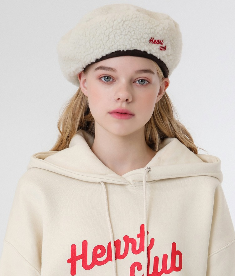 HEART CLUBReversible Cream-Colored Beret