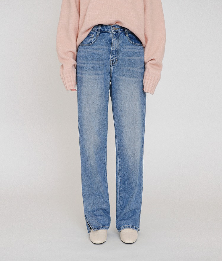 ESSAYSlit Hem Straight Cut Denim Pants
