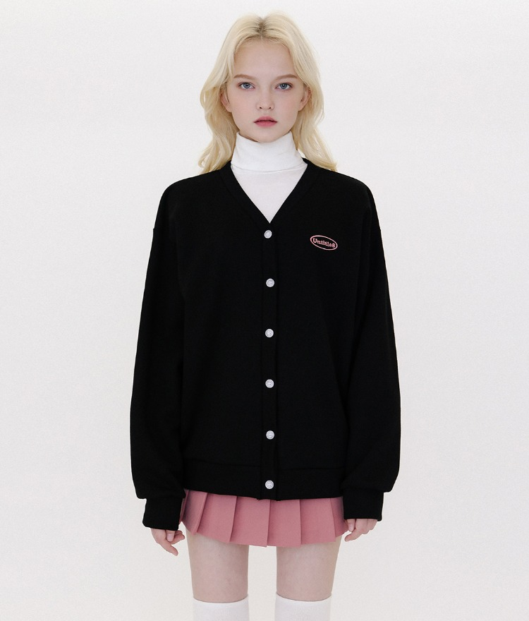 UNTITLE8Embroidered Logo Black Button-Up Cardigan