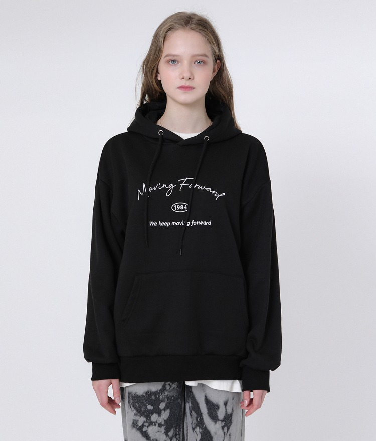 UNTITLE8Embroidered Lettering Black Hoodie