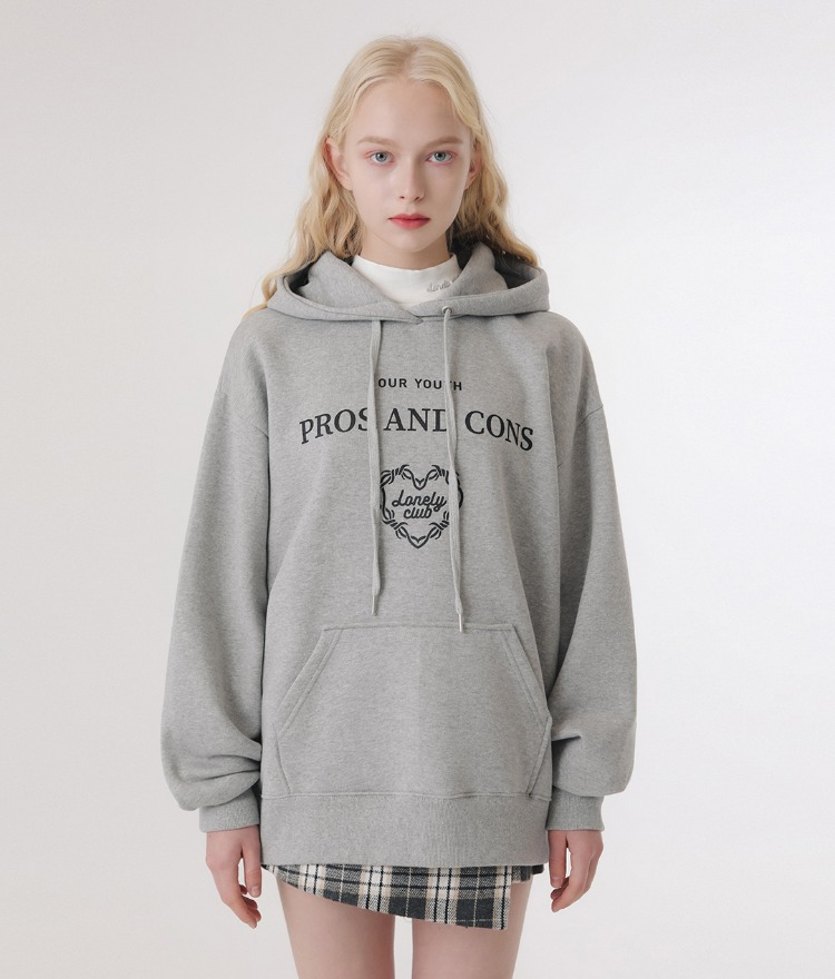 LONELY CLUBContrast Lettering Print Gray Hoodie