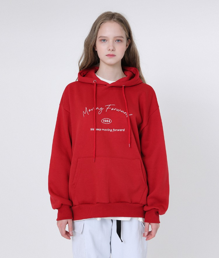 UNTITLE8Embroidered Lettering Red Hoodie