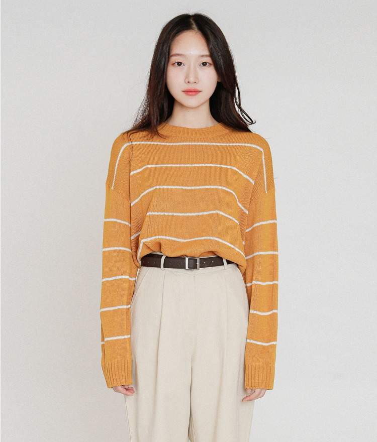 ESSAYStriped Basic Knit Top