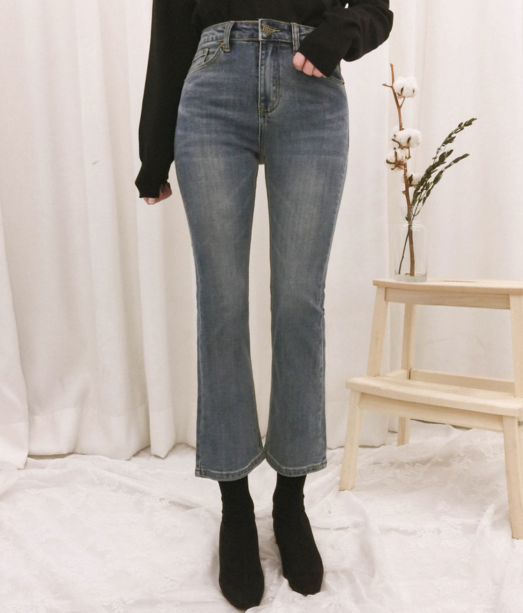 ROMANTIC MUSEBootcut Faded Wash Denim Pants