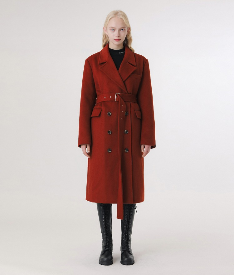 LONELY CLUBBrick Red Belted Woolen Coat