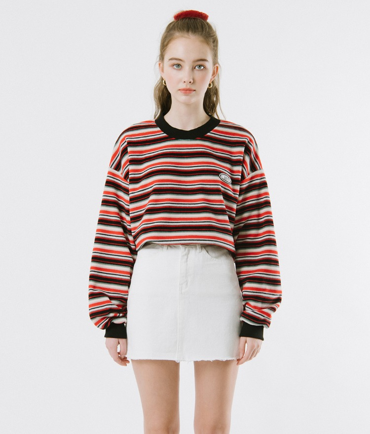 UNTITLE8  Red Striped Sweatshirt