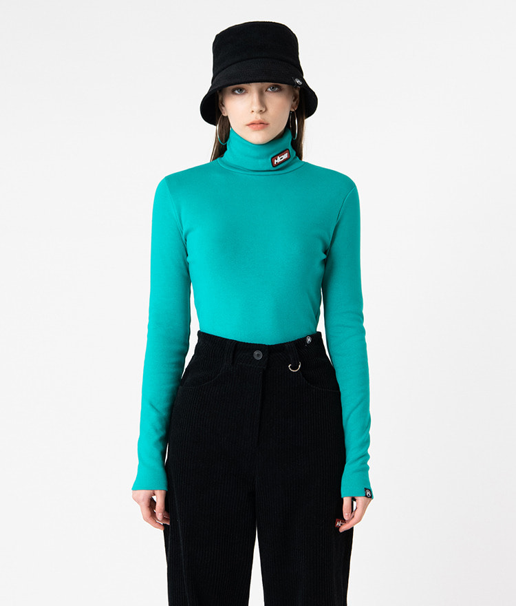 HIDELogo Patch Blue Green Turtleneck T-Shirt